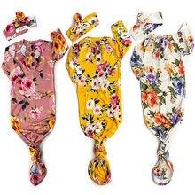Sacs de couchage en coton doux unisexe   Nouveau-né, couverture florale lange emmaillotage, robe 2 pièces, tenues, 2019