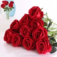 10pcs artificial red rose flowers living room home decoration accessories thanksgiving wedding died bouquet silk flowers bouquet
