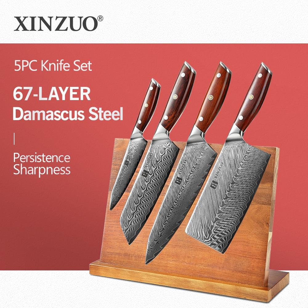 Juego de 5 Uds de cuchillos de cocina XINZUO-Juego de bloques de cuchillos de madera de Acacia excelente-Juego de cuchillos de acero de Damasco japonés muy afilado