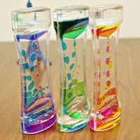 1 pc double color floating liquid oil acrylic hourglass statues sculptures motion bubbles visual hourglass timer home decors