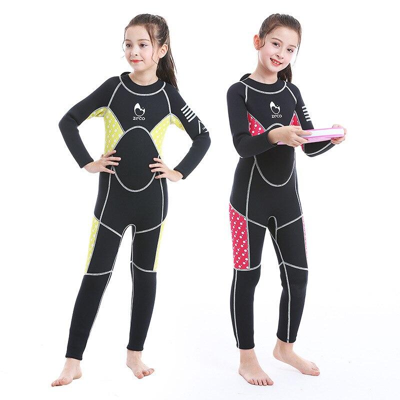 ZCCO 3MM neopren Wetsuit çocuklar Scuba dalgıç kıyafeti güneş geçirmez sörf şnorkel erkek ve kız kış uzun kollu termal mayo