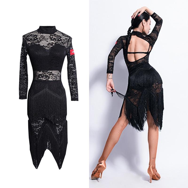 Vestido latino sin espalda Sexy para mujeres Tango Salsa Cha Samba Rumba Performance Fringe vestidos de encaje borla ropa de práctica DC4719