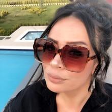 Fashion Women Square Oversized Sunglasses Gradient Plastic Big Frame Sun Glasses Shades Coulos Luxur