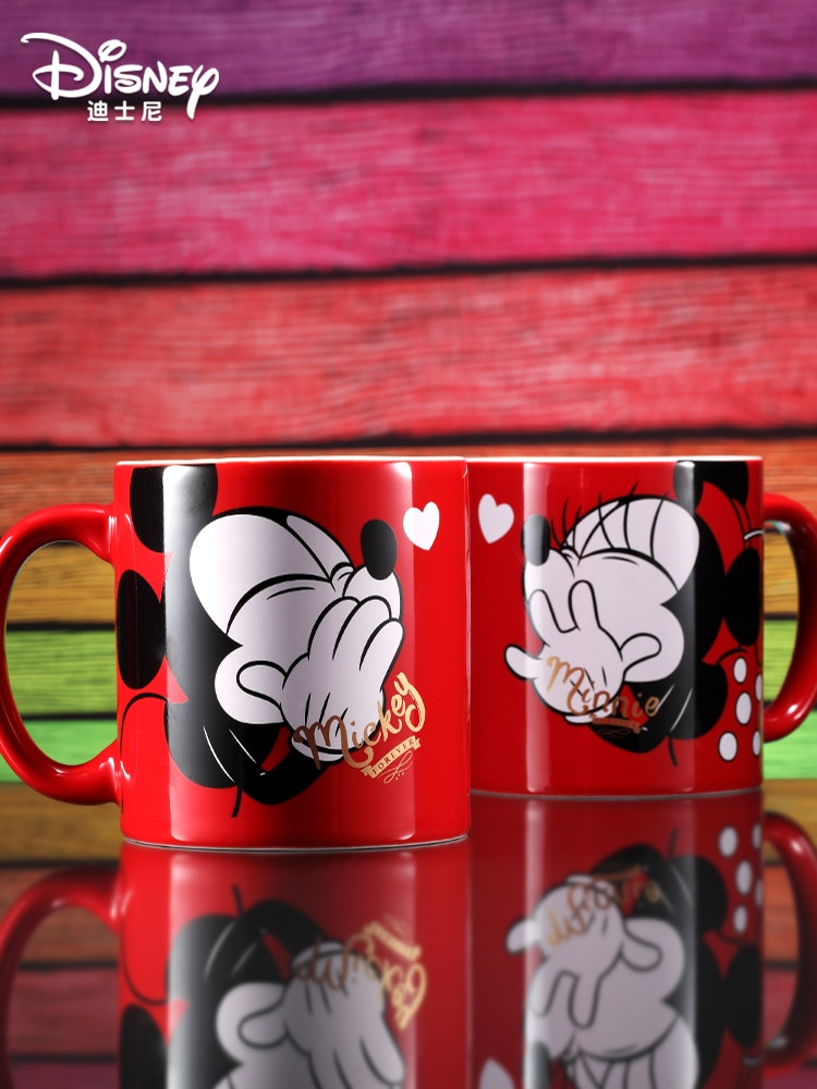 Original Disney Ceramic Mug Valentine's day gift for men and women friends and couples Mickey Minnie Coffee Cup