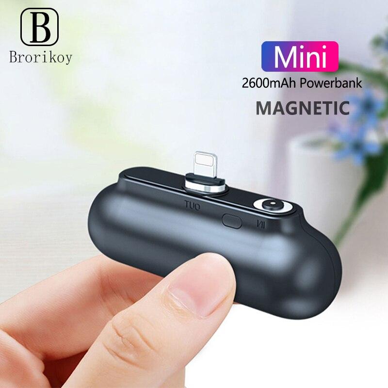 Mini banco de energía de 2600mAh Brorikoy, Cargador USB portátil, Banco de energía magnética, Cable de carga Micro tipo-c para batería externa de iPhone