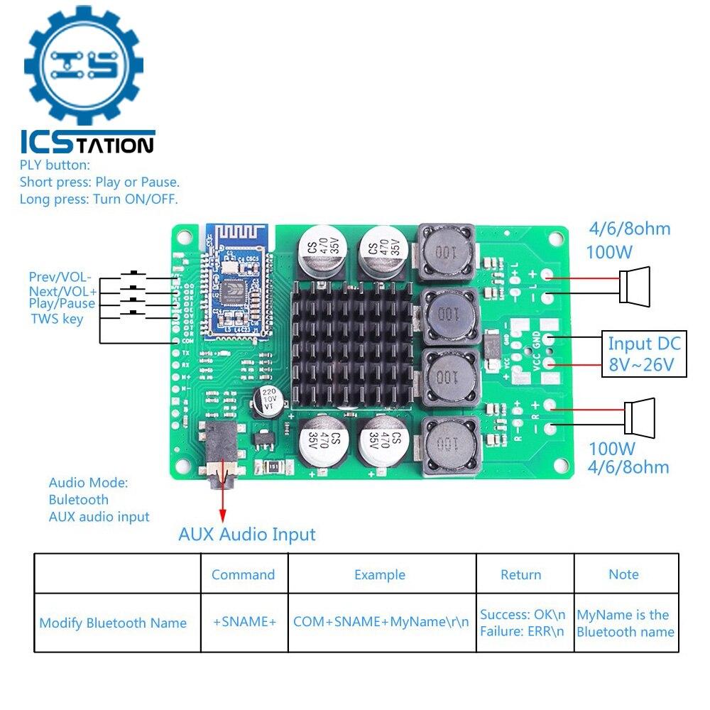 Módulo de Audio con Bluetooth 5,0, Amplificador de 2x80W/100W, compresión sin pérdidas,...