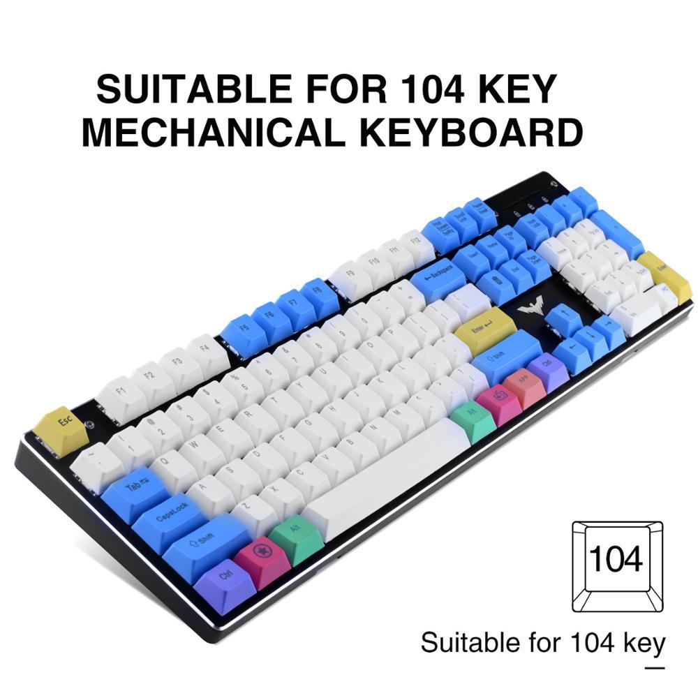 Havit-مجموعة مفاتيح PBT مع مستخرج ، 67 ، 87 ، 104 مفاتيح ، للوحة مفاتيح الألعاب الميكانيكية ، Cherry MX ، أبيض ، أزرق ، أصفر