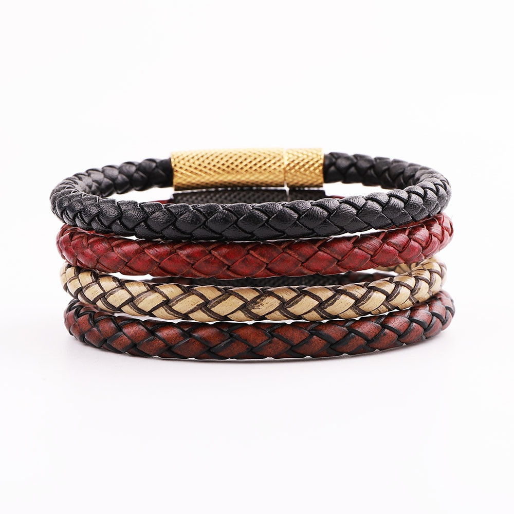 JARAVVI Simple Design High Quality Stainless Steel Clasp Vintage Genuine Leather Bacelet Men Jewelry