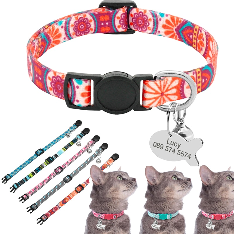 Cute Print Personalized Cat Collar Quick Release Custom Kitten Collars with Bell Engraved Pet Cats Necklace Accessories for Cat