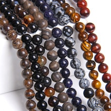 "15.5"" Natural Stone Beads Genuine Snowflake Jaspers Beads 8 mm 10 mm Blue Sandstone Tiger Eye For DIY Making Jewelry Bracelets"