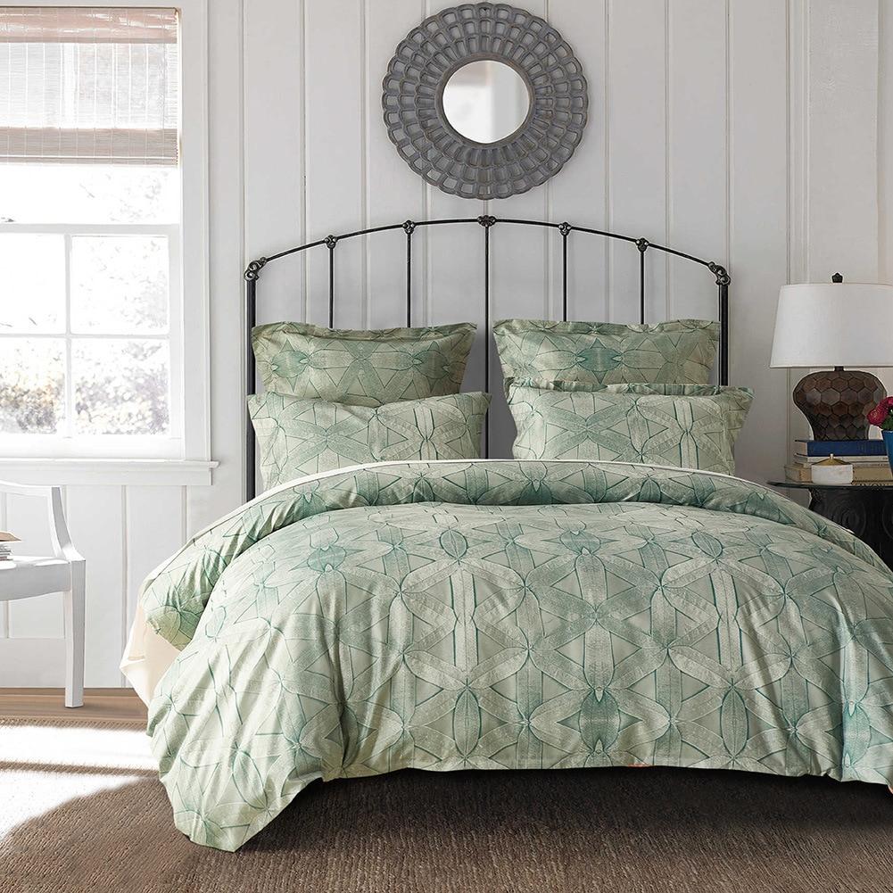 Yaapeet 2/3 قطعة طقم سرير أوروبا أنيقة مطبوعة الفراش خطوط مجموعة لينة المخدة لغرفة النوم 4 ألوان الجاكار أغطية لحاف