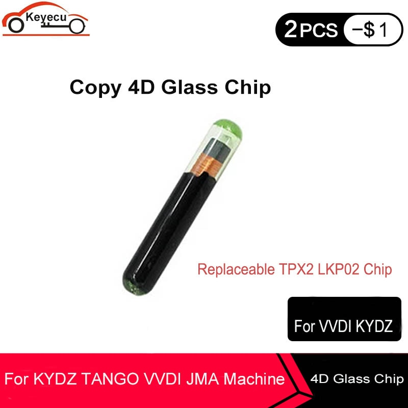 Keyecu 2x cópia 4d chip de vidro substituível tpx2 lkp02 chip chave do carro pode suportar kydz tango vdi jma máquina (reutilizável)