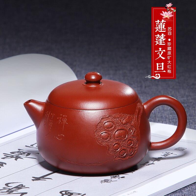 Yixing-إبريق شاي من الطين الأرجواني ، طقم شاي مصنوع يدويًا من خام Dahongpao Lianpeng Wendan ، إبريق شاي الكونغ فو