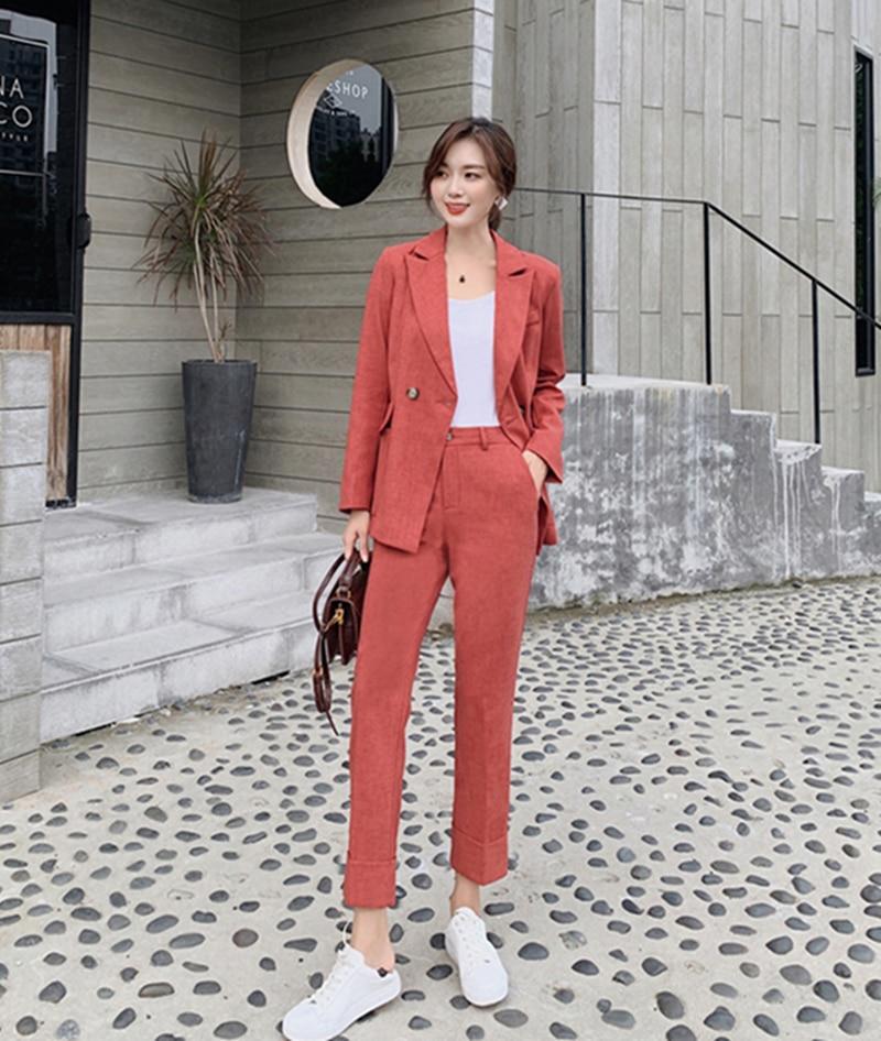Vintage Spring Women's Pantsuit Notched Blazer Jacket & 2021 Office Wear Female Sets