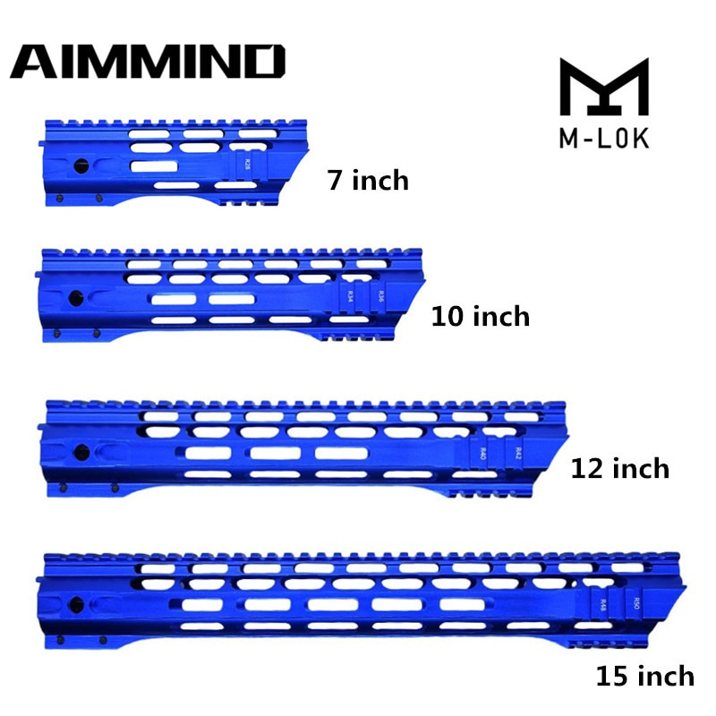 m4 m16 free float quad rail ar 15 tactical handguard picatinny quad rail mount for m4 m16 10 12 15 inch Blue 7/10/12/15 Inch AEG M4 M16 AR15 Free Float M-Lock Quad Rail Handguard Picatinny Rail with Barrel Nut for Hunting