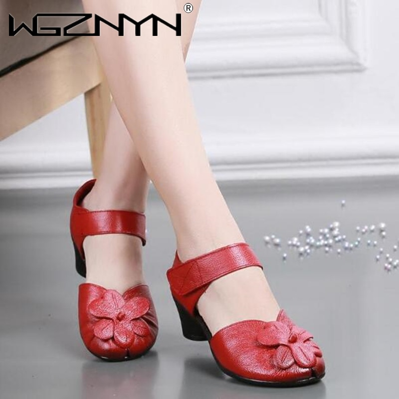 Spring autumn Women's Single Shoes Middle-aged Mother Shoes Thick Heel Middle Heel Shallow Mouth Eth