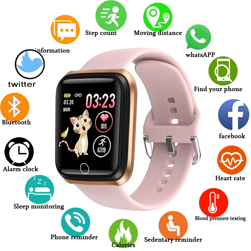 LIGE Smart Watch Women Sports Smart Bracelet IP67 Waterproof Watch Pedometer Heart Rate Monitor LED