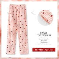 2021 new cotton pajamas womens loose can be worn outside japanese plaid home pants summer thin korean