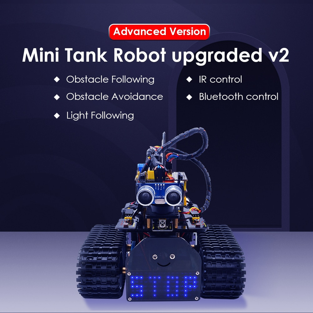 NEW!Keyestudio DIY Mini Tank Robot V2.0 Smart Robot car kit for Arduino Robot STEM /Support IOS &Android APP недорого