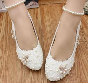 5CM middle MED heel wedding shoes ivory handmade luxury high quality ivory lace pearls bridal pumps shoes ankle elastic band
