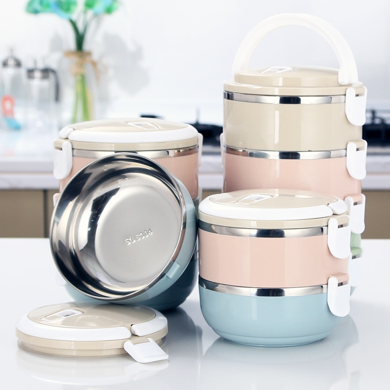 Multi-Layer Round 304 Stainless Steel Insulated Lunch Box Separate  Food Container Office Worker Student Picnic Tableware