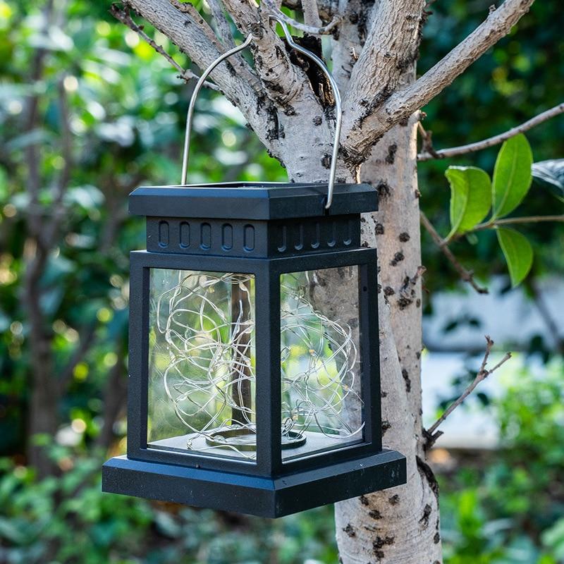 Solar Light Outdoors LED Small Palace Lantern Starry Sky Hanging Lamp Waterproof Garden Courtyard Park Corridor Decoration