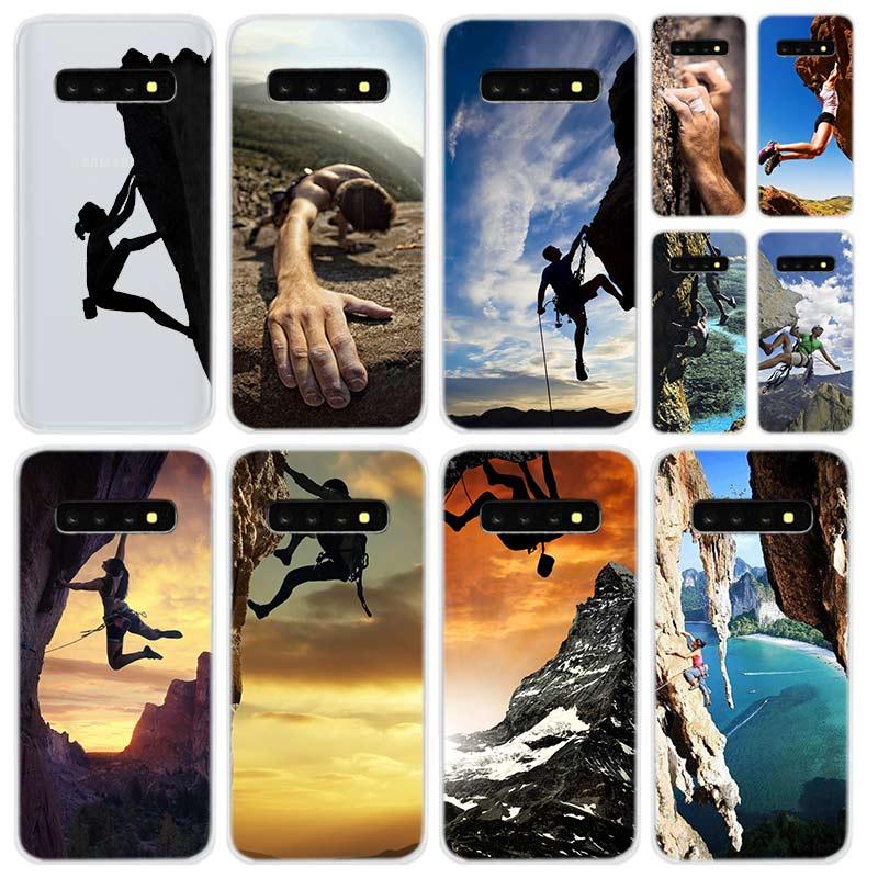 Funda de teléfono transparente para Samsung S9 S8 S10 S20 plus S7 S6 edge para Galaxy Note 10 9 Coque soft Cases deportes escalada en roca
