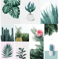 customizable succulent green leaf plant canvas painting nordic poster print wall art picture modern living room decor