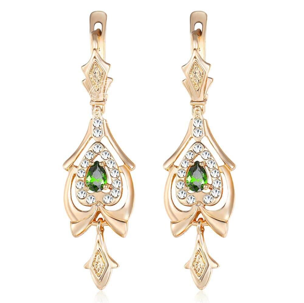 Pendientes para mujer lágrima olivino verde CZ colgante gota oro lleno pavimentado claro Zirconia cúbica GE109