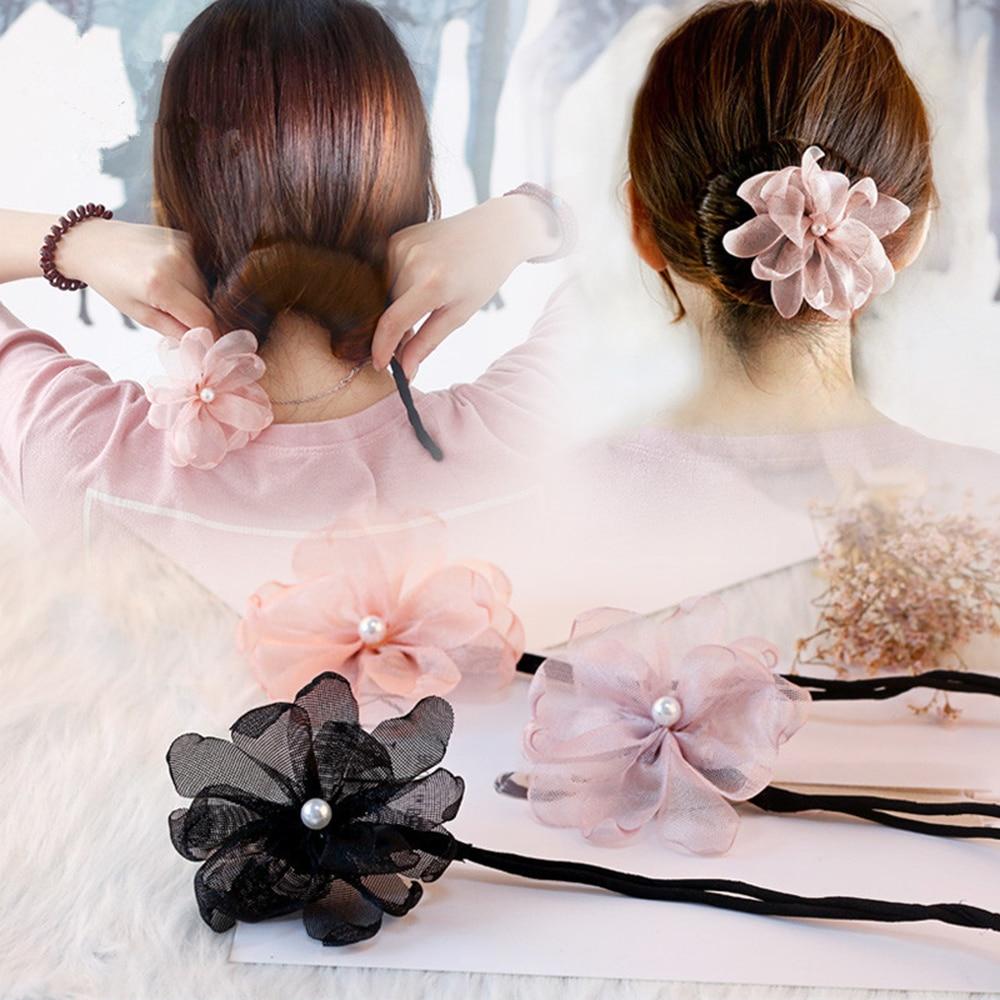 Женский кружевной цветок Французский бутон оголовье плетеные резинки для волос Сменные пушистые шарики кольцо для волос производитель DIY и...