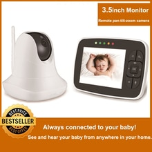 3.5 inch Large Screen Baby Monitor Infrared Night Vision Wireless Video Color Monitor with Lullaby Remote Pan-Tilt-Zoom Camera