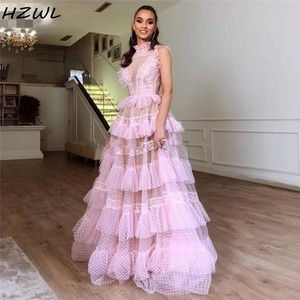 Blush Pink Illusion Prom Dresses Sexy High Neck Lace Layered See Through Evening Dress Cheap Party  Gowns вечернее платье