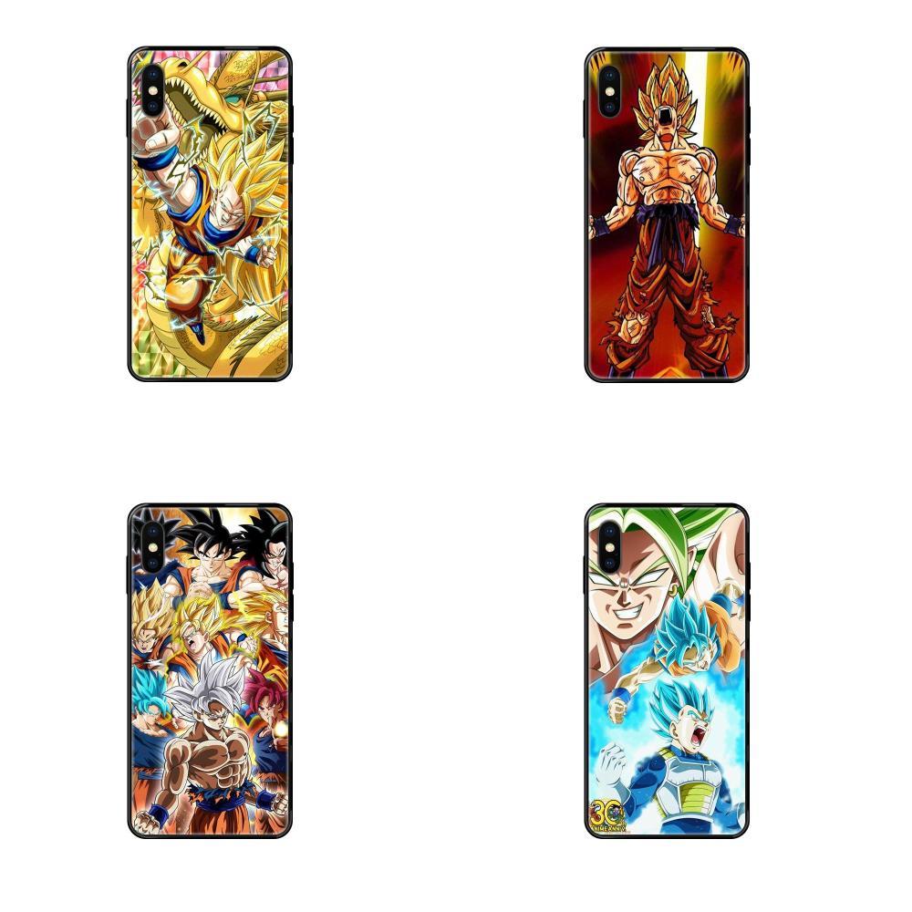Para Galaxy S5 S6 S7 S8 S9 S10 S10e S20 borde Lite Plus Ultra suave TPU negro cubre Capa de dibujos animados de la bola del dragón del Anime luchador Z