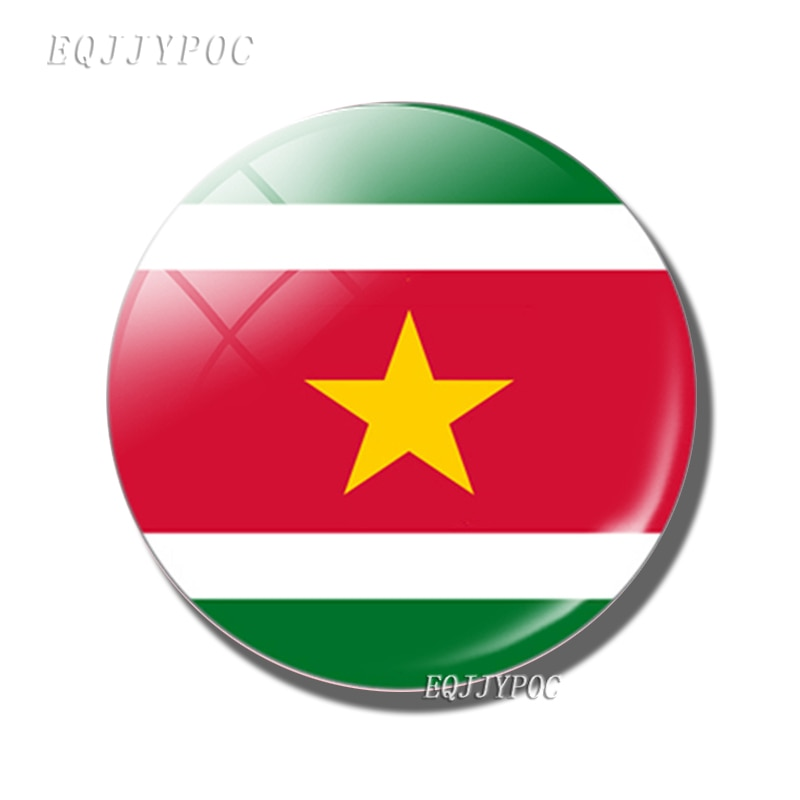 A república do suriname bandeira 30 mm geladeira ímã suriname cúpula de vidro geladeira magnética adesivos nota titular decoração para casa
