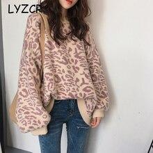 Pull dhiver femmes léopard Pull tricots surdimensionné Pull tricoté Pull femmes à manches longues chandails Pull Femme