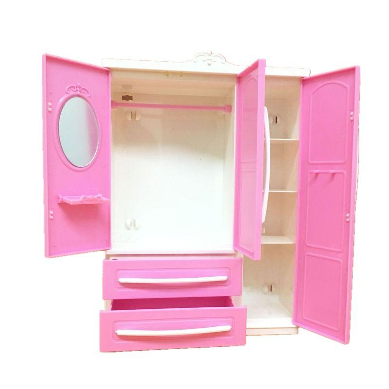 Conjunto de ropero moderno de tres puertas para niñas, mueble de Barbi,...