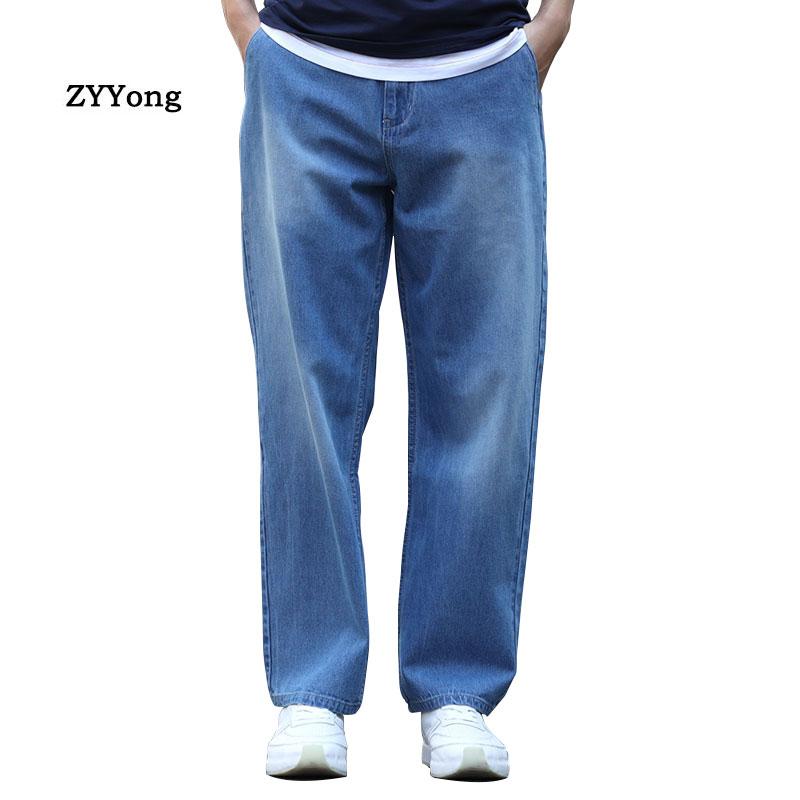 Летние тонкие дышащие мужские джинсы синие джинсовые широкие брюки большого размера свободные мешковатые прямые джинсы для скейтборда в с...