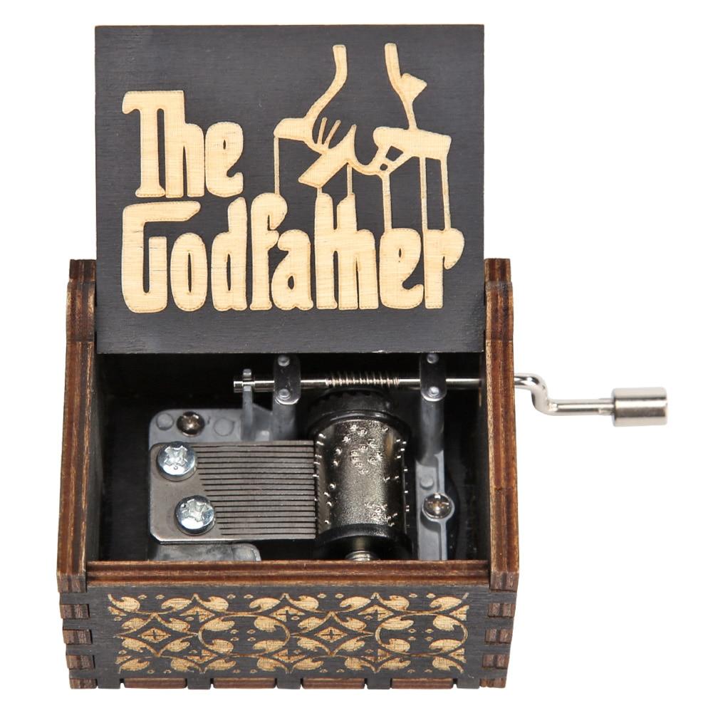 Black Godfather Wood Hand Crank Vintage Wooden Music Box Antique Hand Crank Clockwork Music Box Home