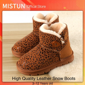 2021 winter leather children snow boots girl cotton boots boys plus velvet short boots 3-12 years old Martin boots leopard print