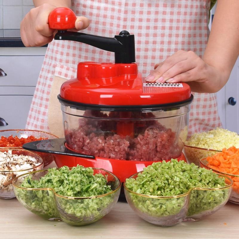 Batidora procesadora de comida Manual de cocina batidora potente de huevos picadora de carne picadora de verduras trituradora cuchilla de acero inoxidable