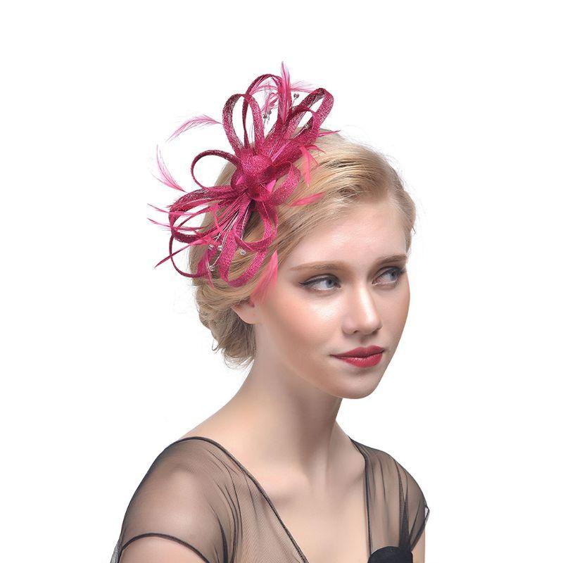 Wedding Bridal Fascinator Hat Ruffles Flower Feather Tea Party Women Girls Hair Clip Glitter Rhinestone Vintage Banquet Headwear
