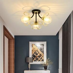 Living Room Aisle Light Corridor Ceiling Light LED Glass Lamp Creative Petal Room Lights Balck/gold Ceiling Lamp Home Decor