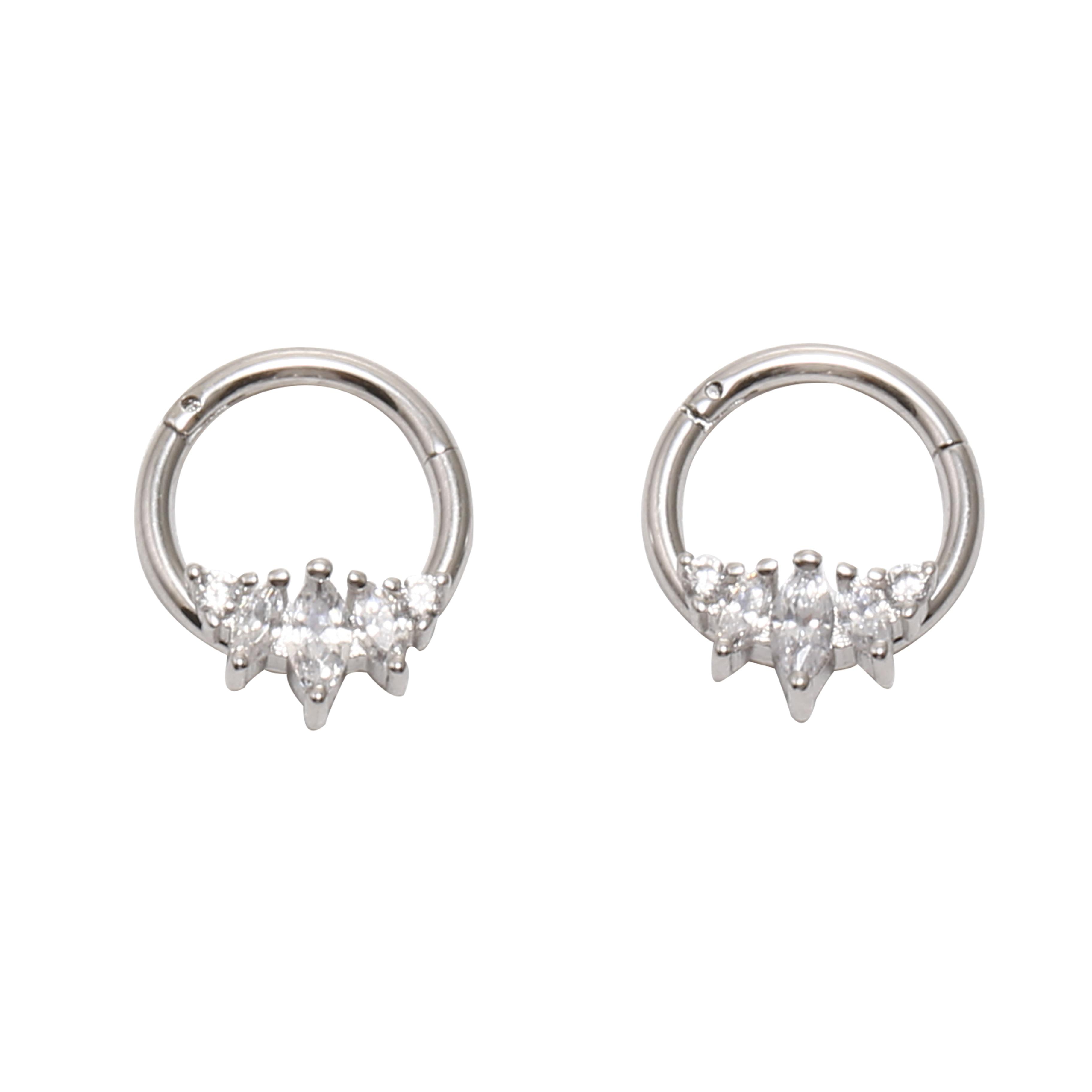 10 unids/lote envío gratis 5 gemas CZ inconsútil con bisagras segmento anillo Clicker cartílago nariz/labio/aro para la oreja Septum 16G CZ Shine nuevo