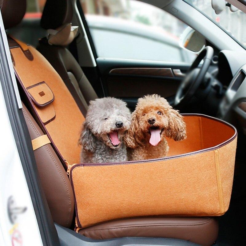 Funda de asiento delantero para coche mascota impermeable canasta para cachorro antideslizante perro gato coche Booster exterior viaje portador de coche Protector