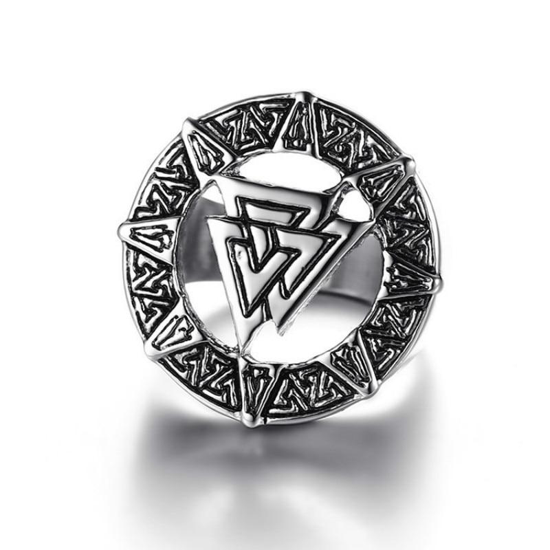 Hombres y Mujeres Retro estilo Retro vikingo anillo negro amuleto Retro nórdico anillo de runas joyería Punk anillo accesorios regalo