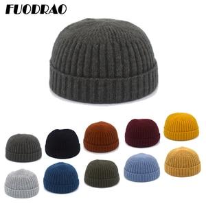 FUODRAO Women Brimless Hats Hip Hop Beanie Skullcap Street Knitted Hat  Men Solid Pumpkin Portable Melon Cap Z2