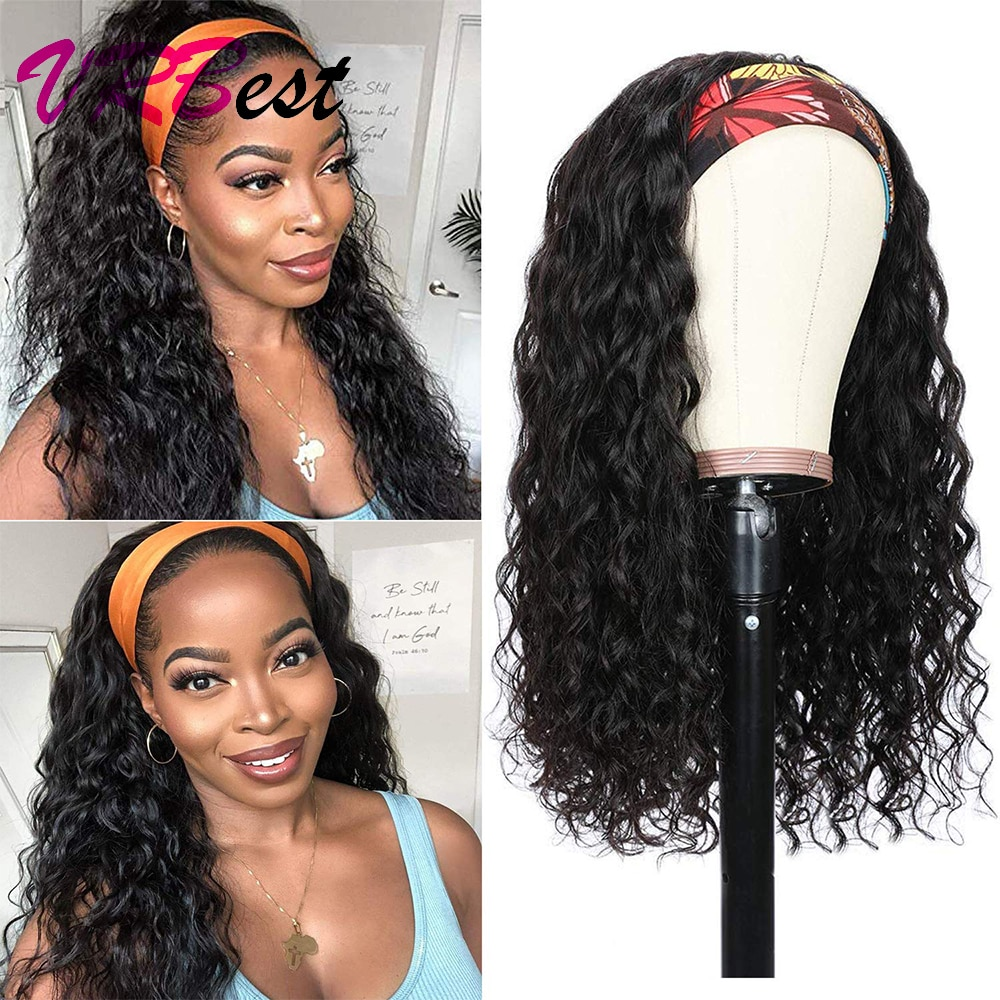 Water Wave Headband Wig Real Human Hair for Black Women Natural Black Curly Wet And Wavy Human Hair Wigs with Headband