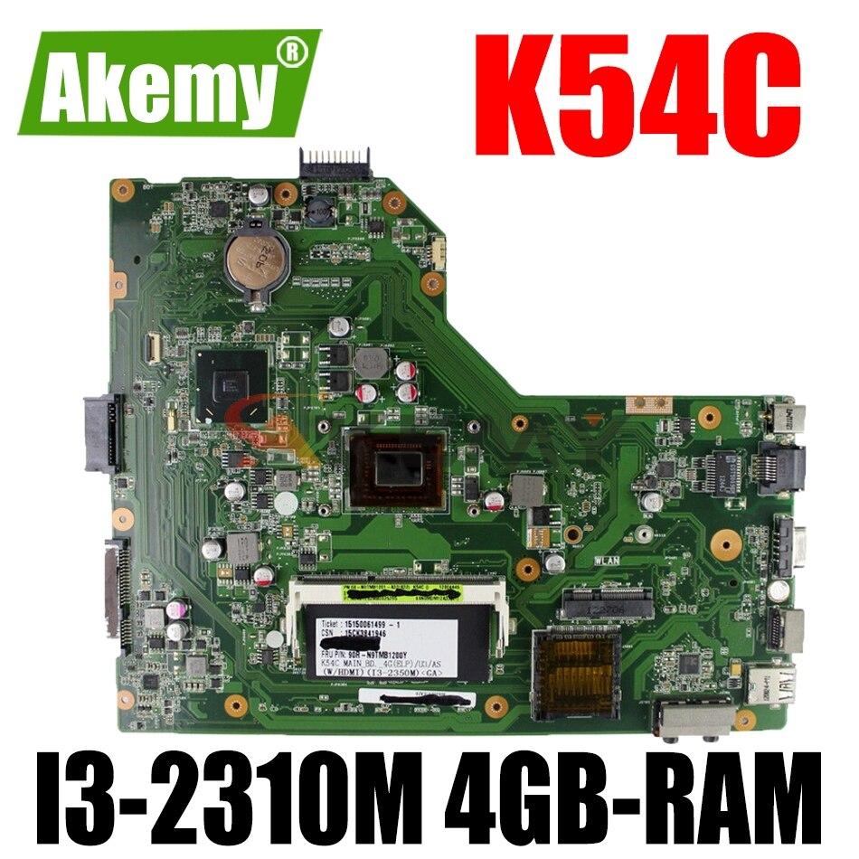 AKEMY K54C اللوحة الأم لأجهزة الكمبيوتر المحمول ASUS X54C اللوحة الرئيسية الأصلية 4GB-RAM I3-2310M