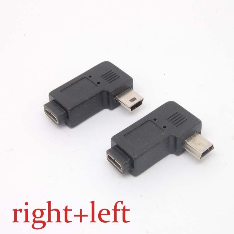 Mini usb tipo um macho para micro usb b fêmea 90 graus direita/esquerda ângulo adaptador