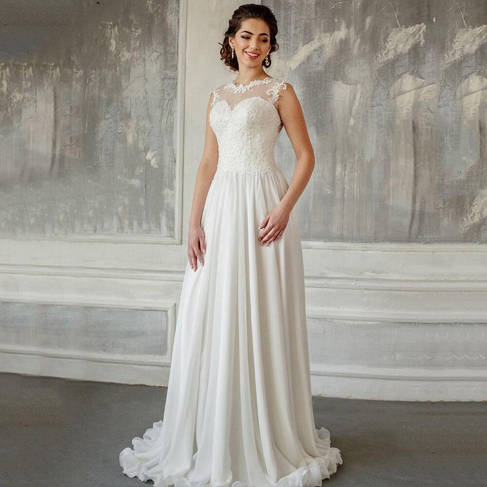 Review Vintage Wedding Dress A Line Floor Length Chiffon Bridal Gown For Bride Sleeveless Button Back Small Train Свадебное платье 2021